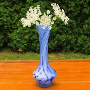 Frosted Glass Hand Blown Bud Vase